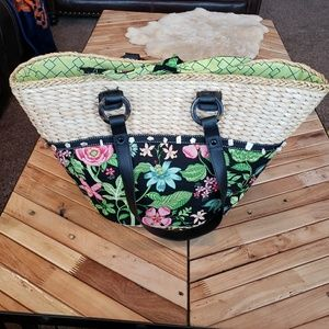 Vera Bradley Straw Tote with Flowers